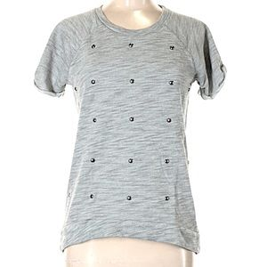 Gray Terry Sweatshirt Short Sleeve high low  small